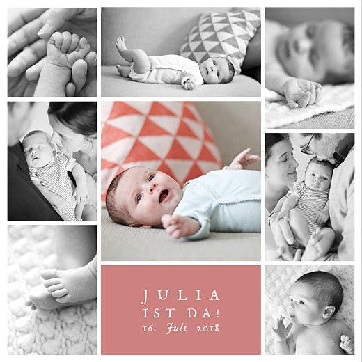 Geburtskarte Erinnerung 8 fotos korallen