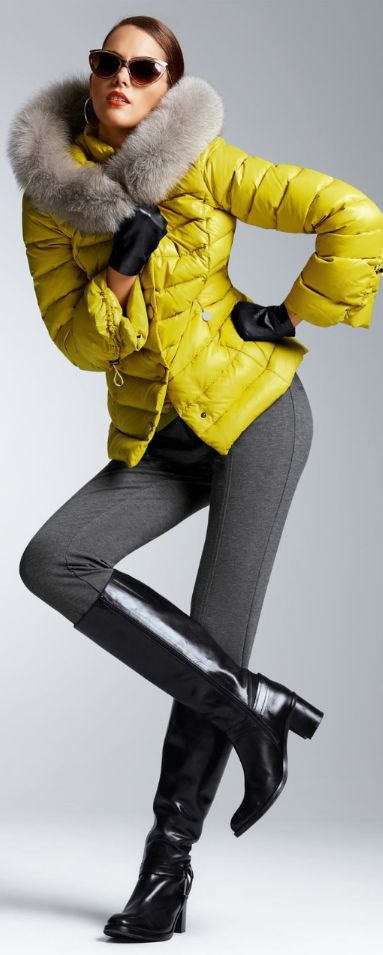 Women fashion clothing outfit style pants gray jacket fur yellow sunglasses boots leather winter casual