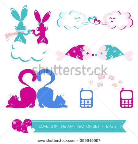 Vector illustration of lovers. Animals in love set. Vector illustration of cell phones sending messages. Heart with tails.