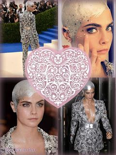 Cara Delevingne made an epic entrance on the red carpet at the 2017 Met Gala as she sported her new bald haircut, which she painted silve...