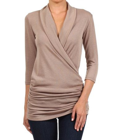 Another great find on #zulily! Khaki Gathered Surplice Top by J-Mode USA Los Angeles #zulilyfinds