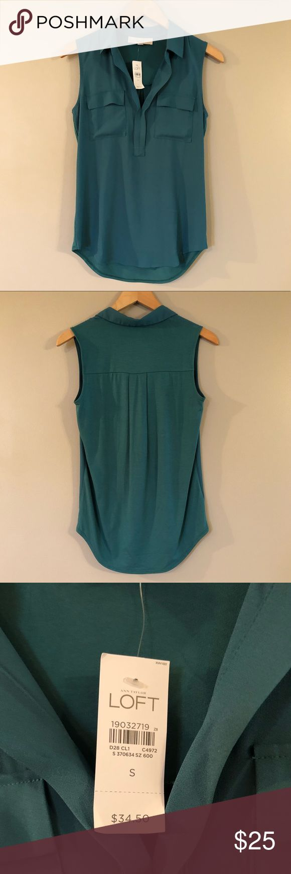 Loft Collared Tank Top - Teal Never worn. New with tags. True to size. Extremely flattering, lightweight tank top/blouse from LOFT. Light Teal color. The front of the top is 100% polyester. The back of the top is made of rayon and spandex - so it still fits loosely, but has ample stretch. Very comfortable. Cute on its own, tucked in, or worn with a thin belt. LOFT Tops Blouses