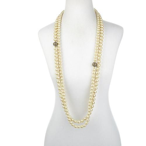 """Heidi Daus """"Infinite Magic"""" Crystal-Accented Necklace Set - Ivory/Off White"""