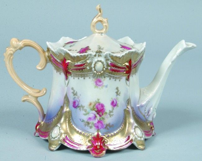 "RS Prussia Tea Pot, 4.25""h. x 5""d.; Mold 645, ribbon and jewel, pink ..."
