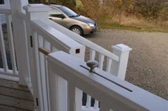 Lock for deck - what a cool idea!  no pinched fingers or broken nails! And dogs can't open the gate lock