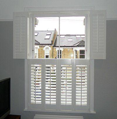Window shutters. Elegant. Instead of blinds in bay windows