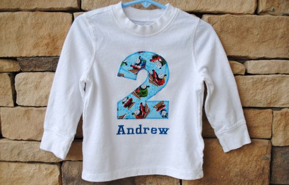 THOMAS TRAIN BIRTHDAY Shirt. Kids Appliquéd by BugaboosCloset