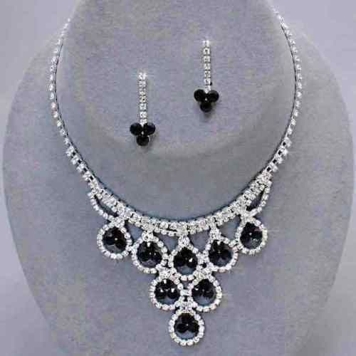 Vintage Inspired Clear & Jet Rhinestone Necklace & Earring Set (Sparkle-2461-U)
