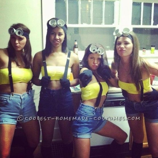Easy and Cheap Homemade Girl Group Costumes: Despicable Me minion halloween costumes for women