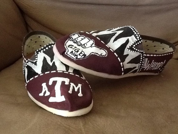 Texas A & M TOMS  Hill Country Boutique  http://www.etsy.com/listing/93444980/texas-am-custom-hand-painted-toms