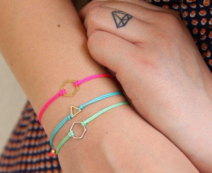 Geometric friendship bracelet. Summer triangle bracelet. Minimalist neon bracelet. Geometric shape adjustable bracelets by lizaslittlethings on Etsy https://www.etsy.com/listing/191139602/geometric-friendship-bracelet-summer