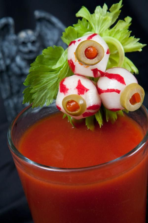 Whip together any bloody mary recipe, and simply garnish with an eyeball — or…