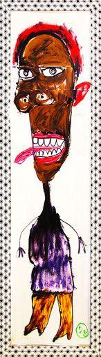 """A las seis"" de Victoria Barranco @ VirtualGallery.com Pintura acrílica sobre cartón enmarcado de 36x126 cm (14.2x49.6 in). Arte marginal. Niña sacando la lengua. (2015)-"