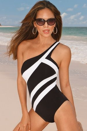 Boston Proper One-shoulder maillot #bostonproper great post partum swim suit mom swimwear