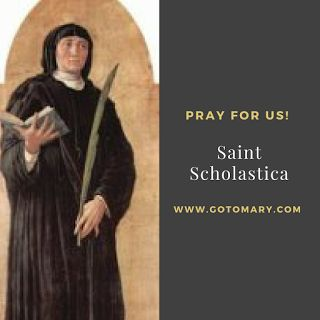 The 10th of February is the feast day of Saint Scholastica. She was the sister of St Benedict. She is the patron saint of schools; tests; books; reading; convulsive children; nuns; invoked against storms and rain; and Le Mans. http://www.gotomary.com/2018/02/saint-scholastica.html  #saintoftheday #catholic #catholicsaint #catholicsaint #saint #saints