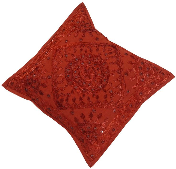 "Bulk Wholesale Red Cushion Cover in Pure Cotton – 16x16""Hand-Stitched Throw Pillow Cover with Embroidery and Mirrors - Decorative Pillow Case for Couches / Beds / Sofas – Home Décor from India  (Set of 4)"