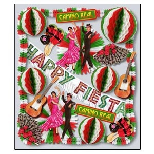 South of the Border Decorating Kit.**Special Order Item.  19 pieces!  This kit has a variety of colourful decorations that are sure to make your fiesta a huge success.