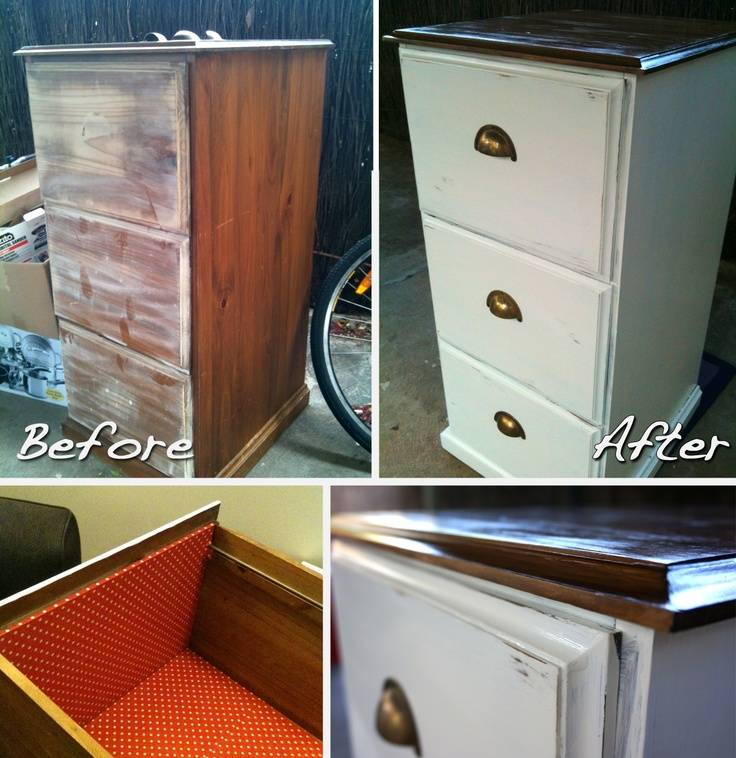 An old falling apart filing cabinet to a useable half decent looking filing cabinet proudly situated in our study...  1.took off the handles (wasn't planning to reuse them)  2.hammered in nails that were falling out  3.decided because it was old and wont last forever that i wouldn't put too much time and resources into it (just enough to make it usable)  4.sanded back the old stain  5.two layers of paint  6.tinted stain on top  7.reused the old handles   8. distressed the edge of the drawers