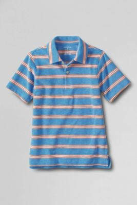 Boys' Self Collar Stripe Polo Shirt from Lands' End
