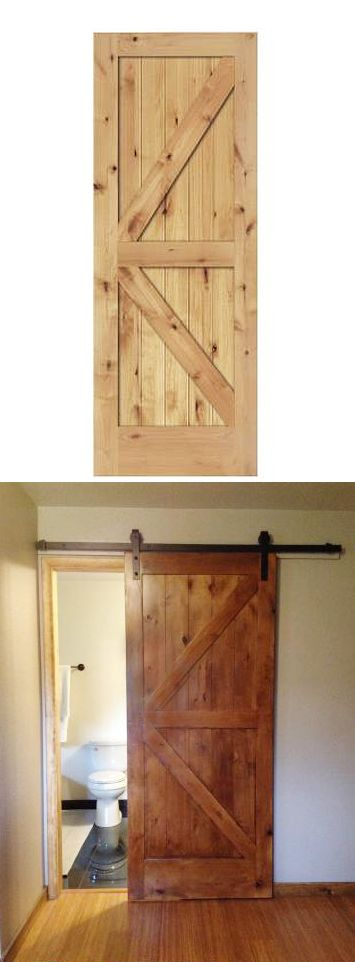 Home Depot customer Dani stained and finished this slab door to create an attractive barn door for a bathroom. The barn door hardware is from The Home Depot, too.