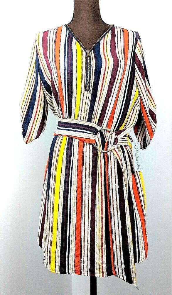 d9c00c6552a J for Justify Junior Dress Short Sleeve Multicolor Stripe Size Medium  #JforJustify #Casual