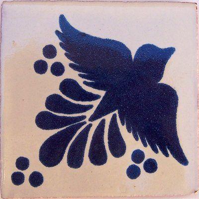 mexican talavera blue and white bird tile - finecraftsimports.com