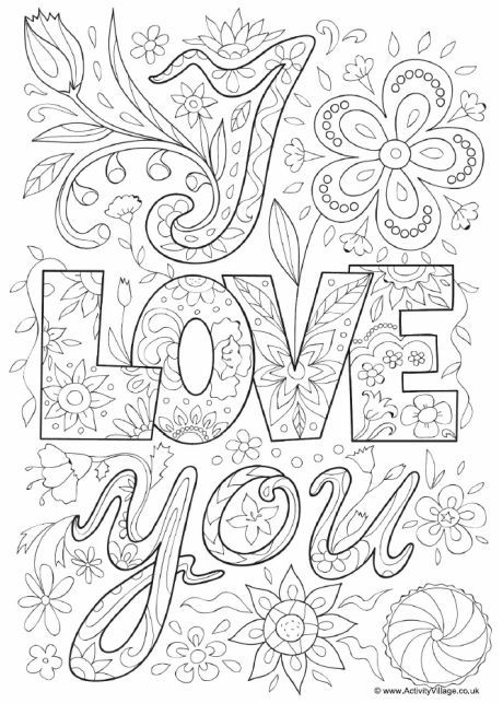 I love you doodle colouring  page #words
