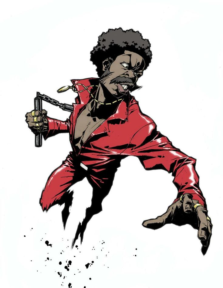 Another favourite artist's, Lesean Thomas, concept art for the comedy Black Dynamite. The pose along with subtle use of speed lines captures the motion of him jumping to attack.