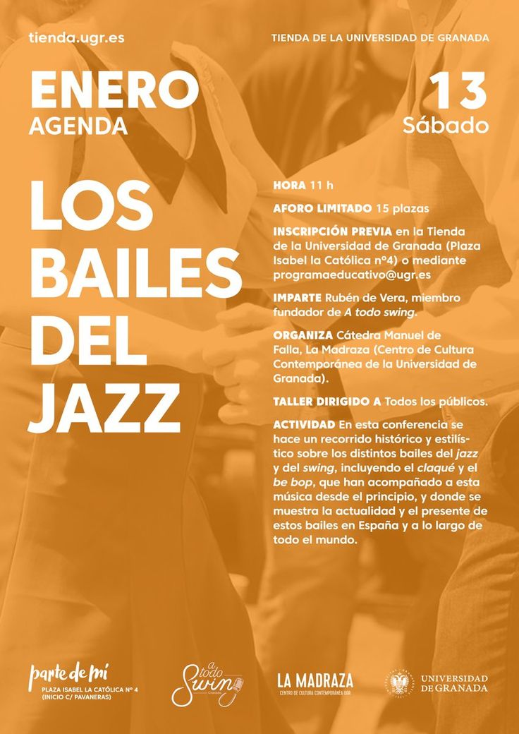 """En esta conferencia, """"Rubén de Vera"""", miembro fundador de """"A todo swing"""", hace un recorrido histórico y estilístico sobre los distintos bailes del jazz y del swing, incluyendo el claqué y el be bop, que han acompañado a esta música desde el principio, y donde se muestra la actualidad y el presente de estos bailes en España y a lo largo de todo el mundo. Aforo: 15 participantes. Consultas y reservas en: programaeducativo@ugr.es y en la Tienda de la #UGR . #jazz #CMDeFallaUGR"""