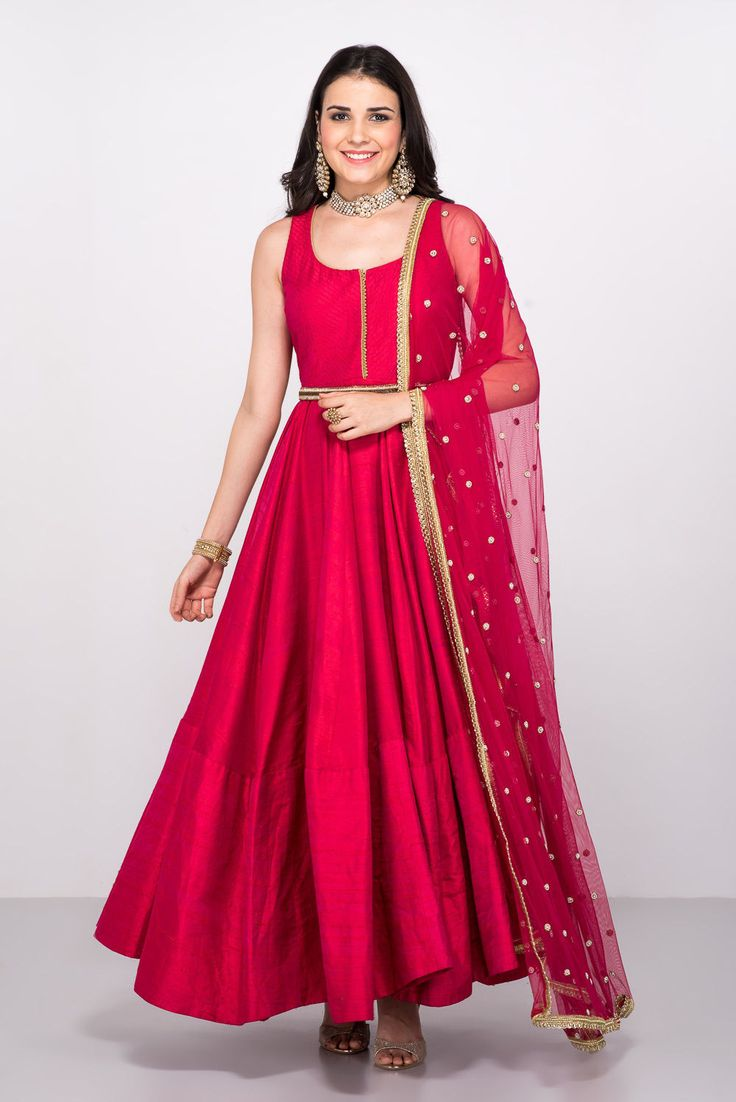 Rent DADDY'S PRINCESS BY PRIYANKA - Solid Pink Anarkali With Embroidered Dupatta And Belt