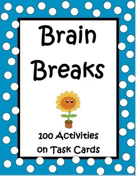 Great for the end of the year or any time!! Brain Breaks by The Teacher Next Door is a set of 100 task cards filled with active games, exercises, and creative movement to help your kids regain focus after periods of sitting. These activities are not only fun but beneficial for learning. Studies have shown that brain breaks activate the mind and help to relieve stress. Plus, kids think they're so much fun! $
