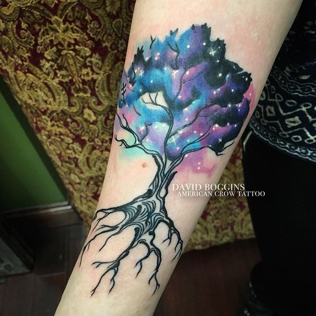 Cosmic life. All one.  Thanks Rachael for your trust in this freehand galaxy tree ✨ #davidboggins #americancrowtattoo #columbusohio