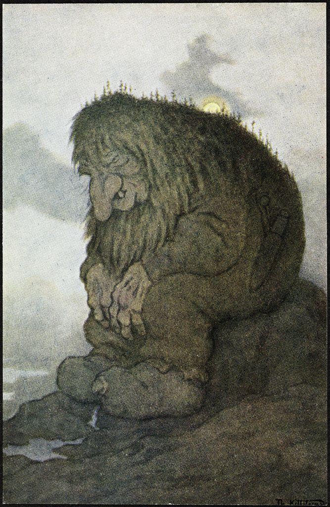 Troll .  Theodor Kittelsen, Trollet som grunner på hvor gammelt det er, 1911