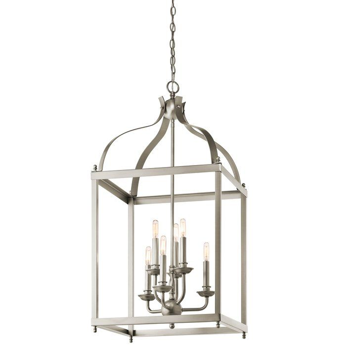 Give a quick update to your foyer by bringing home this 6-Light Foyer Pendant. This pendant light is featured in the shape of a bird's cage. It can accommodate six 60W B10 bulbs. Made from a premium quality material, this pendant light is strong and will last for years to come. It is accented with a traditional style. This light can enhance the visual aesthetic of a room. This pendant light has a chain that allows you to hang it from the ceiling.