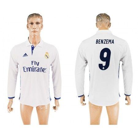 Real Madrid 16-17 Karim #Benzema 9 Hjemmebanetrøje Lange ærmer,245,14KR,shirtshopservice@gmail.com