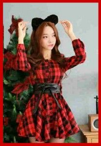 Mini Dress korea red and cute KK205