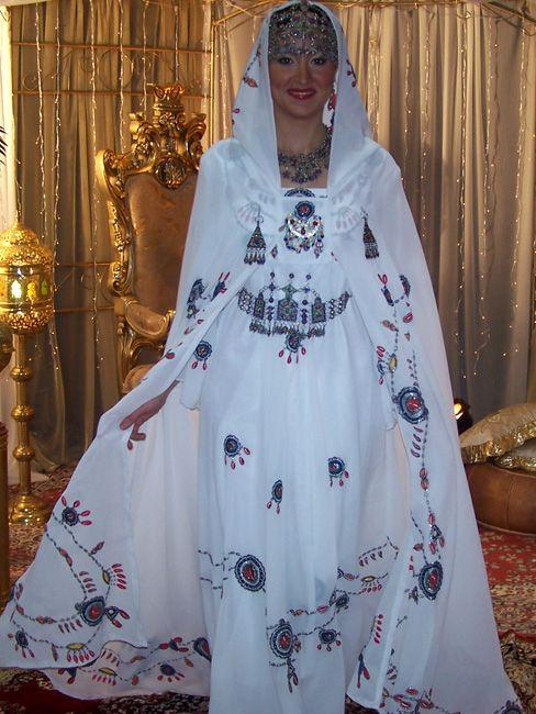 Algerian Woman in Kabyle dress and Burnus Berberiska
