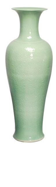 """Vases, Grand 38"""" Tall Chinese Hand Engraved Celadon Floor Vase, so beautiful…"""