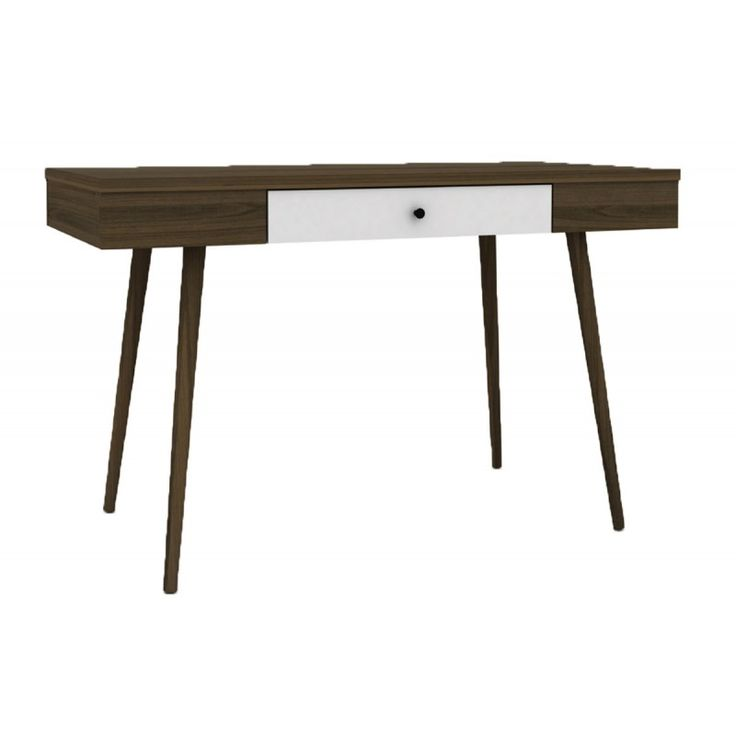 Desk-console Alida walnut-white 120x59x75 Ε7346