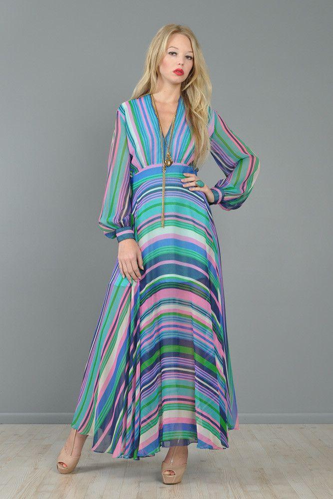 Bias-Cut Popsicle Stripe Chiffon Maxi Dress