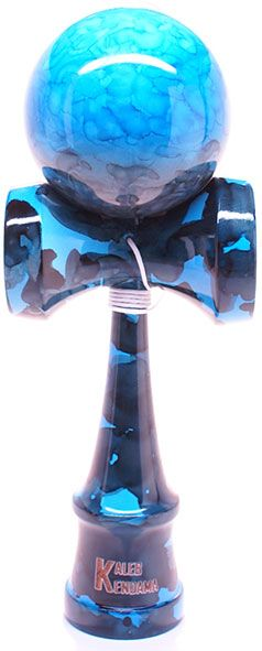 Unique fully marble painted with baby blue, blue & black swirled together to make this stylized deep ocean themed Kendama.  Kaleb Kendama brings the simple yet extremely fun Japanese ball and cup toy to you. Made of solid wood and will come exactly as pictured. EXTRA replacement string included with every Kendama.
