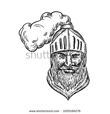 Drawing sketch style illustration of an old knight, medieval soldier,warrior ,chevalier or cavalier head with helmet viewed from front done in black and white.  #knight #drawing #illustration