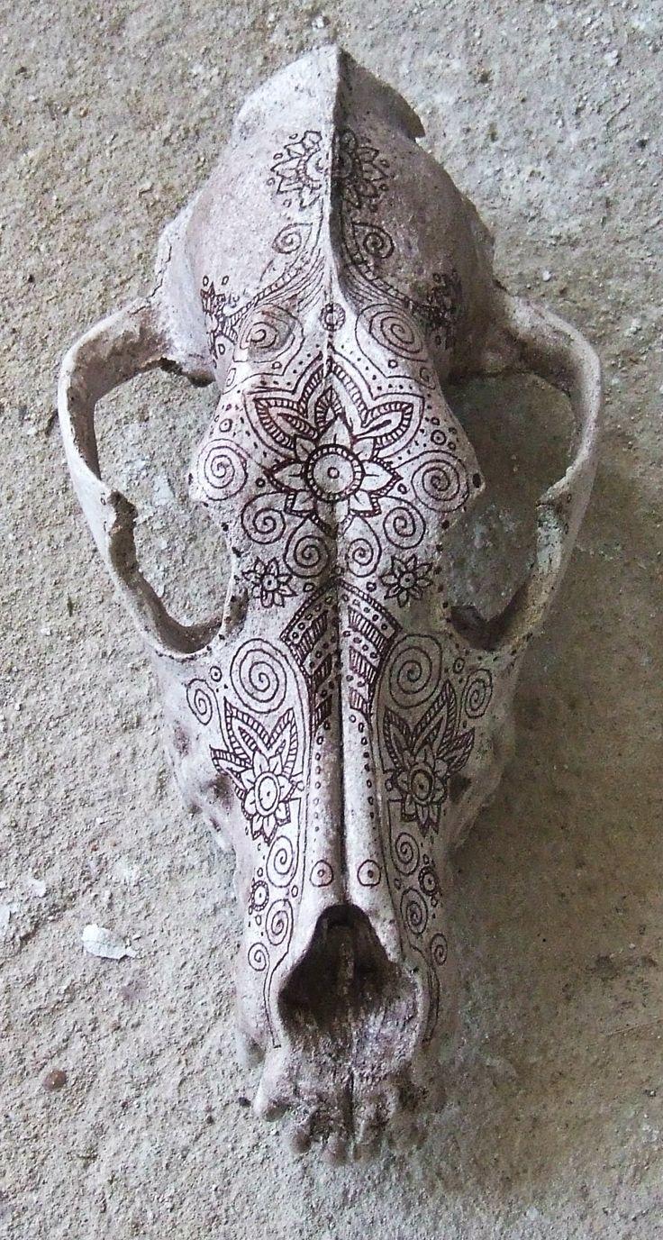 Cráneo de perro decorado con ornamentos dracónidas.