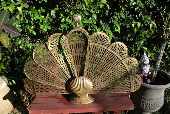 Brass Peacock Fireplace Screen with Shell Motif Hollywood Regency Style Perfect For Beach House