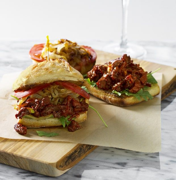 Vegan BBQ: Chef Chloe Coscarelli's Red Wine BBQ Seitan on Ciabatta
