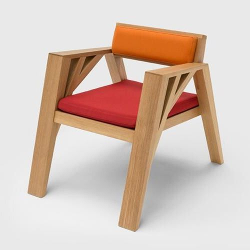 CARPENTER   Wooden Low Lounge Chair with Armrests, Design by Olivier Dollé