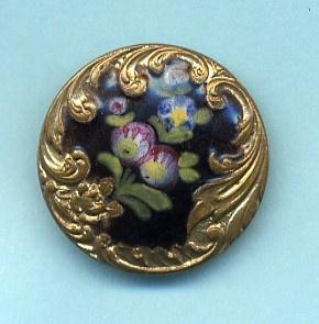 Parisian Brass  Enamel Floral Design Button