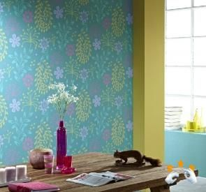 Fleur uw kamer op met een vrolijke kleur behang. #prints #behang #kleur