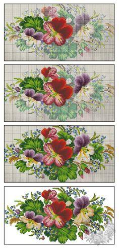 (10) Gallery.ru / Анютины глазки и незабудки - Старинная вышивка. Мои перенаборы - s1a2v3o4l5