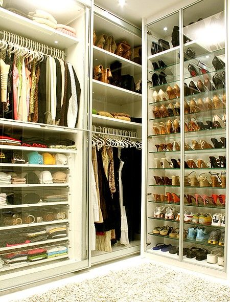 closet with glass drawers.